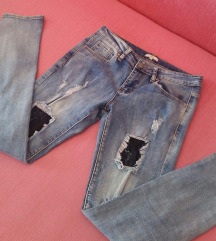 Iscepane farmerke, jeans sa čipkom, OVS