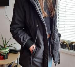Zimska crna jakna/ parka S-M