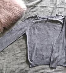 Colloseum tanji sivi džemper sa cirkončićima S