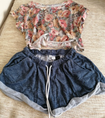 H&M sorts i crop top majica