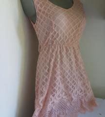 Roze kockasto cipkana haljina S