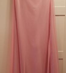 Bebi roza saten elegantna haljina