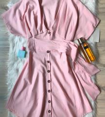 Baby roza haljina sa dugmicima S/M vel NOVA sa et.