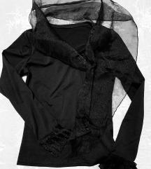 Elegantna crna bluza sa tilom, vel. XS