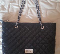 Velika crna Mona kožna štepana torba