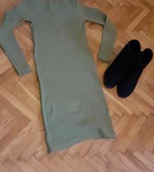 Rebrasta zelena haljina