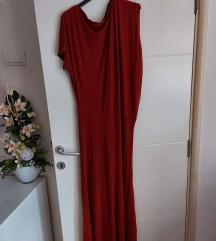 Bordo dugacka asimetricna haljina