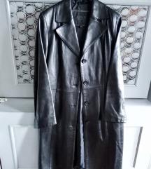 Kožni crni mantil