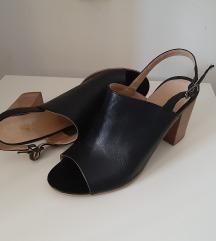 Crne kožne sandale, visoka peta, 39