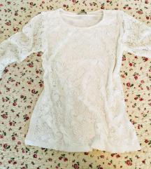 Čipkasta bela bluza