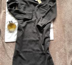GOLDEN GOOSE NOVA siva svilena haljina S etiketa