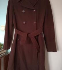Italijanski topli kaput u boji cokolade-Snizeno