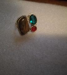 Prsten Mix Tigrovo oko,peridon i rubin