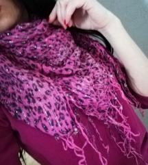 Ešarpa pink crno