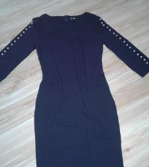 Nova teget haljina sa perlama na rukavima M/L vel