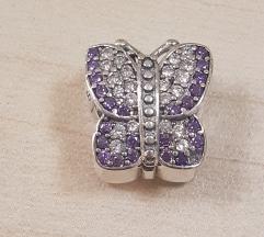PANDORA ljubičasti leptir srebro