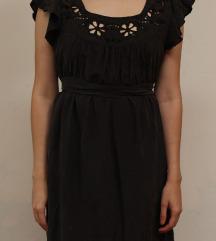 Svilena siva haljina sa trakom