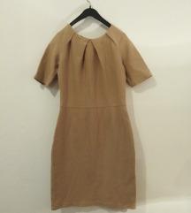 Bez - braon midi haljina