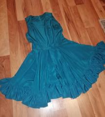 Unikatna sivena tirkizna haljina