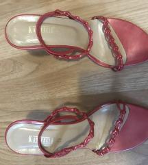 Sandale kozne sa crvenim kaisevima