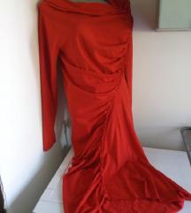 Crvena sa naboranim haljina M