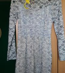 Mango plava čipkana haljina