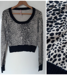 Sweewe Paris animal print crop dzemper
