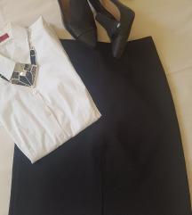 Sisley crna suknja A kroj, sa slicevima