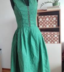 Rose drindl vintage zelena haljina 36
