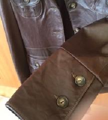 Zenska kozna jakna braon prolecna