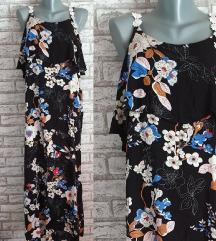 NOVA Crna cvetna haljina M-XL