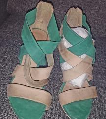 Zeleno drap elegantne italijanske sandale