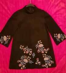 Zara antilop crna vezena tunika haljina%%%