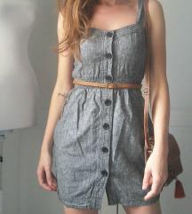 Siva  lanena haljinica + torba