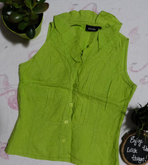 Zeleni laneni prsluk