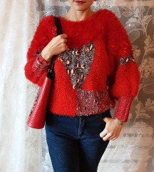 Crveni vintage džemper