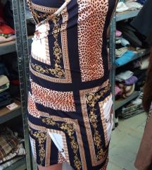 Zlatno teget print haljinica