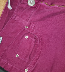 High waisted zenske pantalone u bordo boji