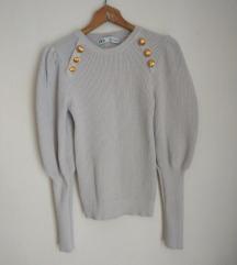 Bela Zara bluza / džemper sa puf rukavima