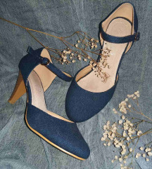 Plave zatvorene sandale na štiklu