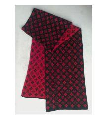 šal crveno crni sa motivima LUIS VITON 177x29 cm