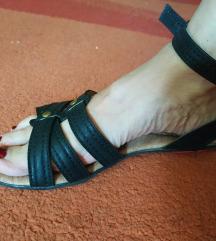 Crne ravne skull print sandale