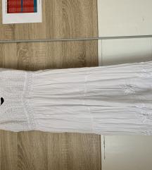 Bela midi haljina sa čipkastim detaljima