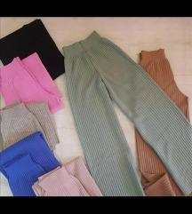 Pantalone crne rebrasti pamuk UNIVERZALNE