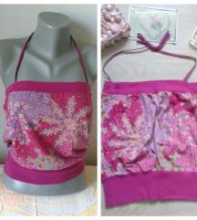 Sareni cvetni roze crop top