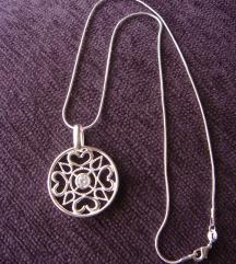 Privezak + oglica krug srebro 925 NOVO