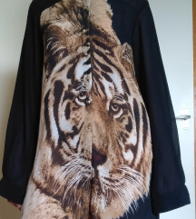 Crna kosulja-haljina sa printom tigra
