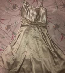 Svečana satenska zlatna haljina sa cirkonima