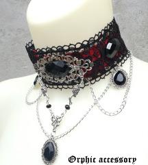 Gothic rose crveno crni choker