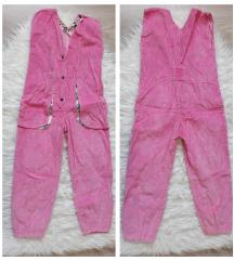 Roze plisani kombinezon za devojcice